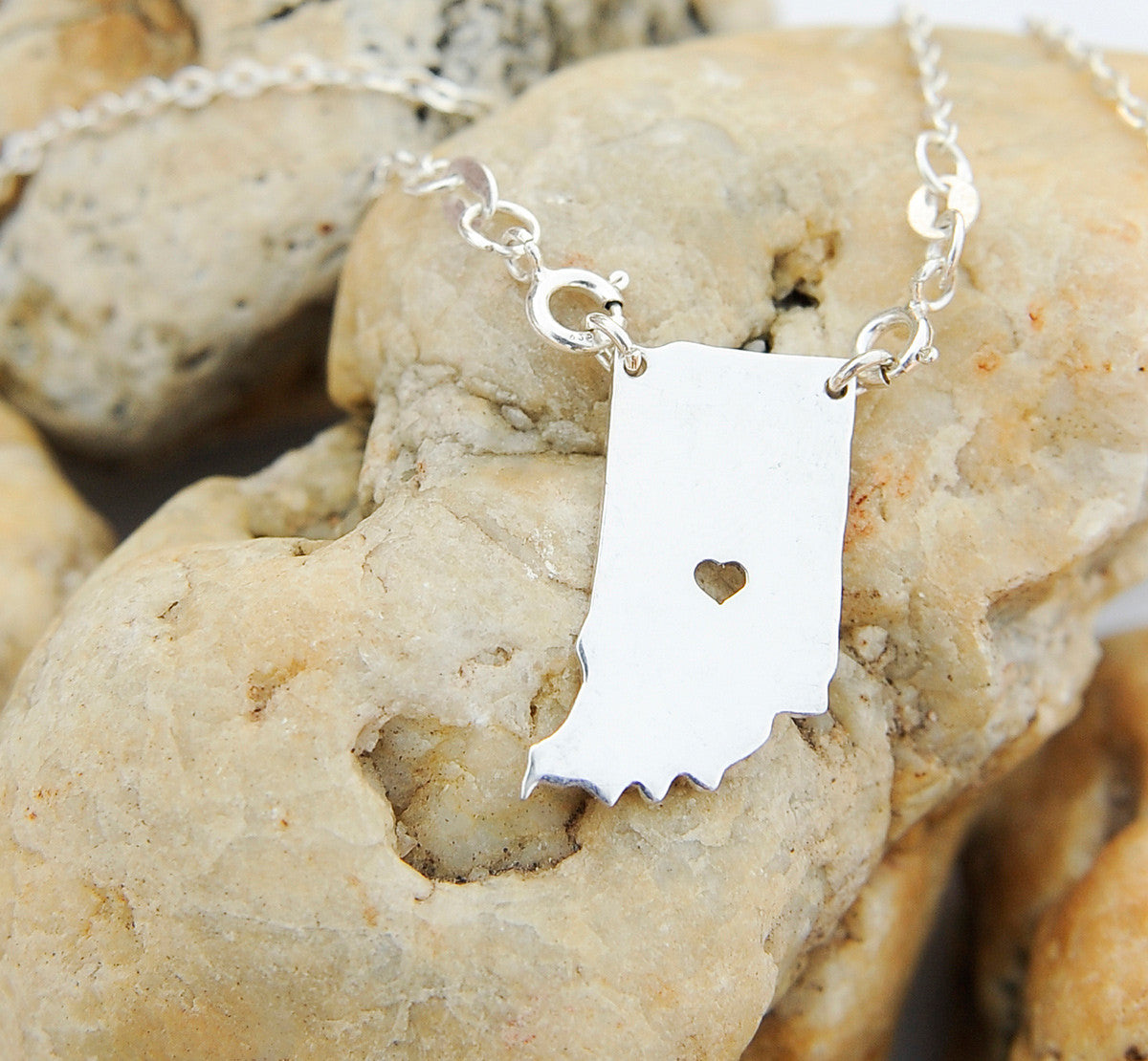 Indiana map state love heart Necklace, Customized Personalized Necklace