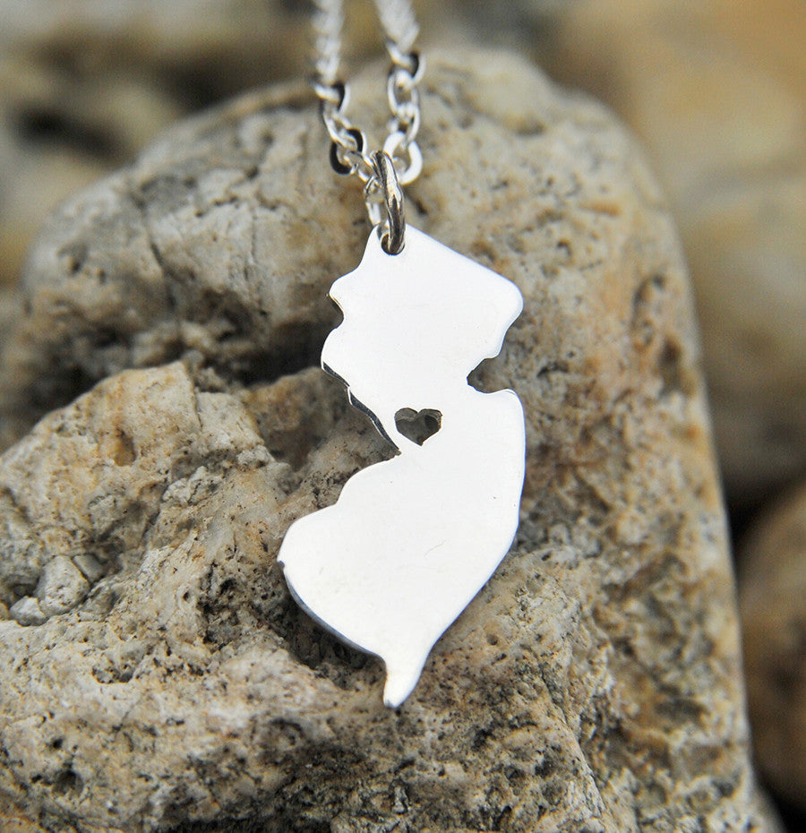 New Jersey map state love heart Necklace, Customized Personalized Necklace