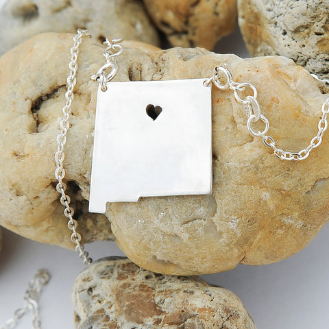 New Mexico map state love heart Necklace, Customized Personalized Necklace