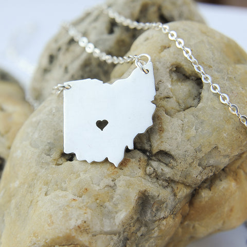 Ohio map state love heart Necklace, Customized Personalized Necklace