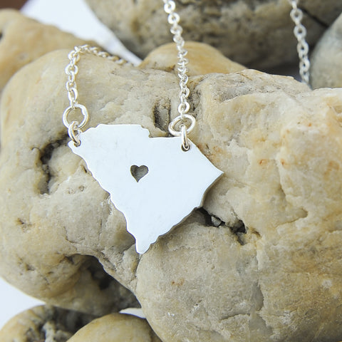 South Carolina map state love heart Necklace, Customized Personalized Necklace