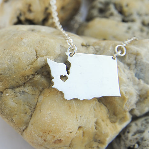 Washington map state love heart Necklace, Customized Personalized Necklace