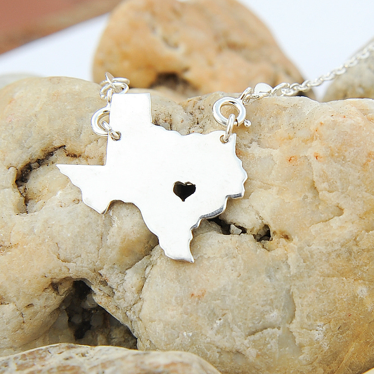Texas map state love heart Necklace, Customized Personalized Necklace