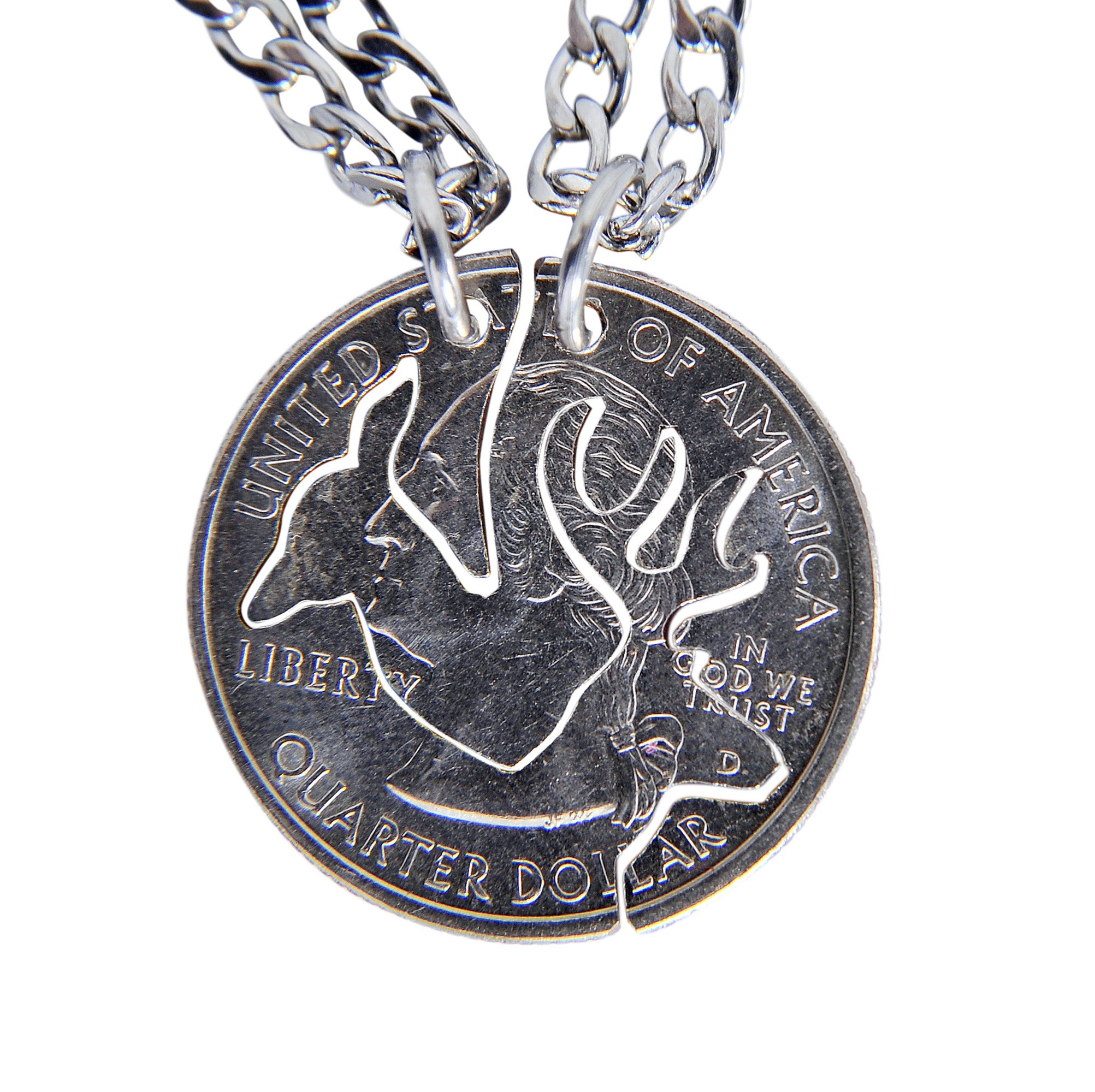 Hand Coin Cut Buck and Doe Interlocking Necklace