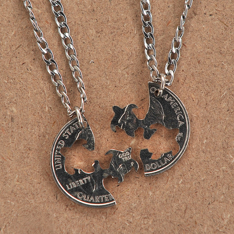 Hand Coin Cut Turtle Interlocking Necklaces