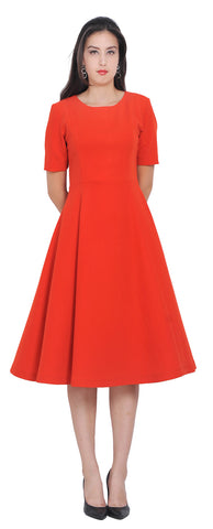 Womens Classy Work Office Business Dresses Flared Midi Kate Duchess Style Dresses