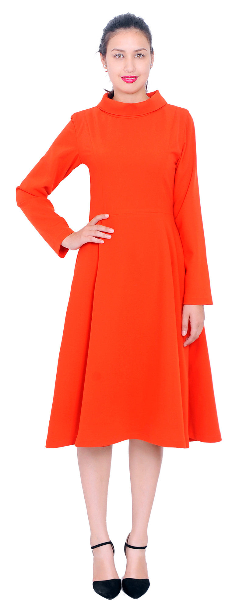 19a4fd357de Winter High Neck Long Sleeve A Line Flared Midi Dresses – Marycrafts