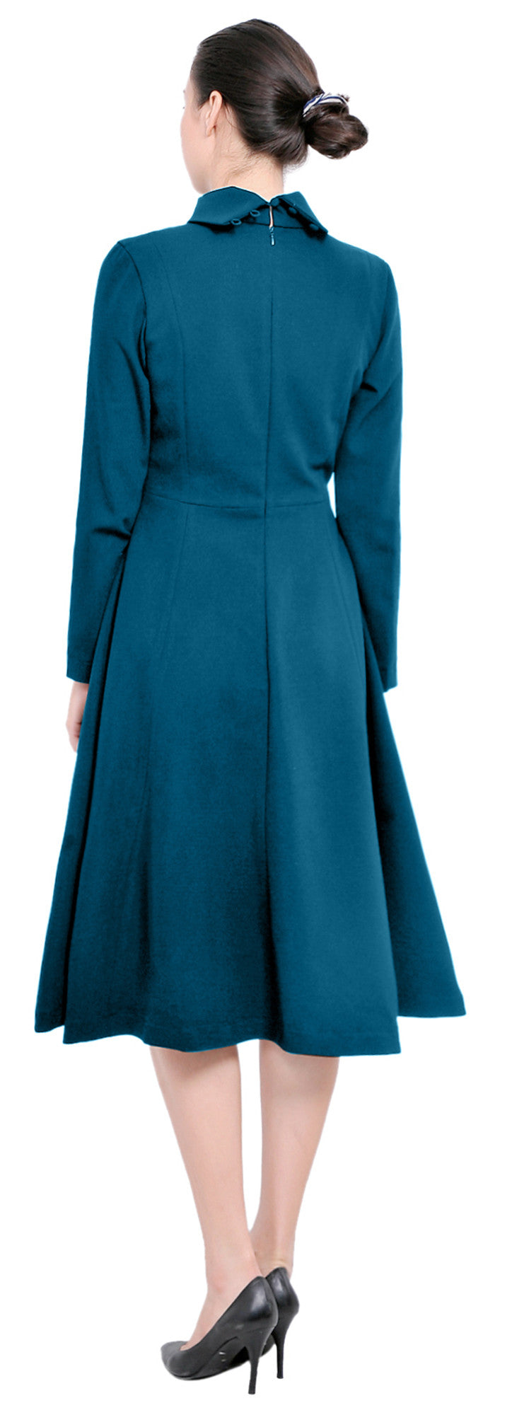 Winter High Neck Long Sleeve A Line Flared Midi Dresses