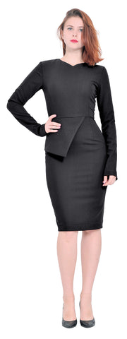 Classy Lady Office Long Sleeve Pencil midi Dress
