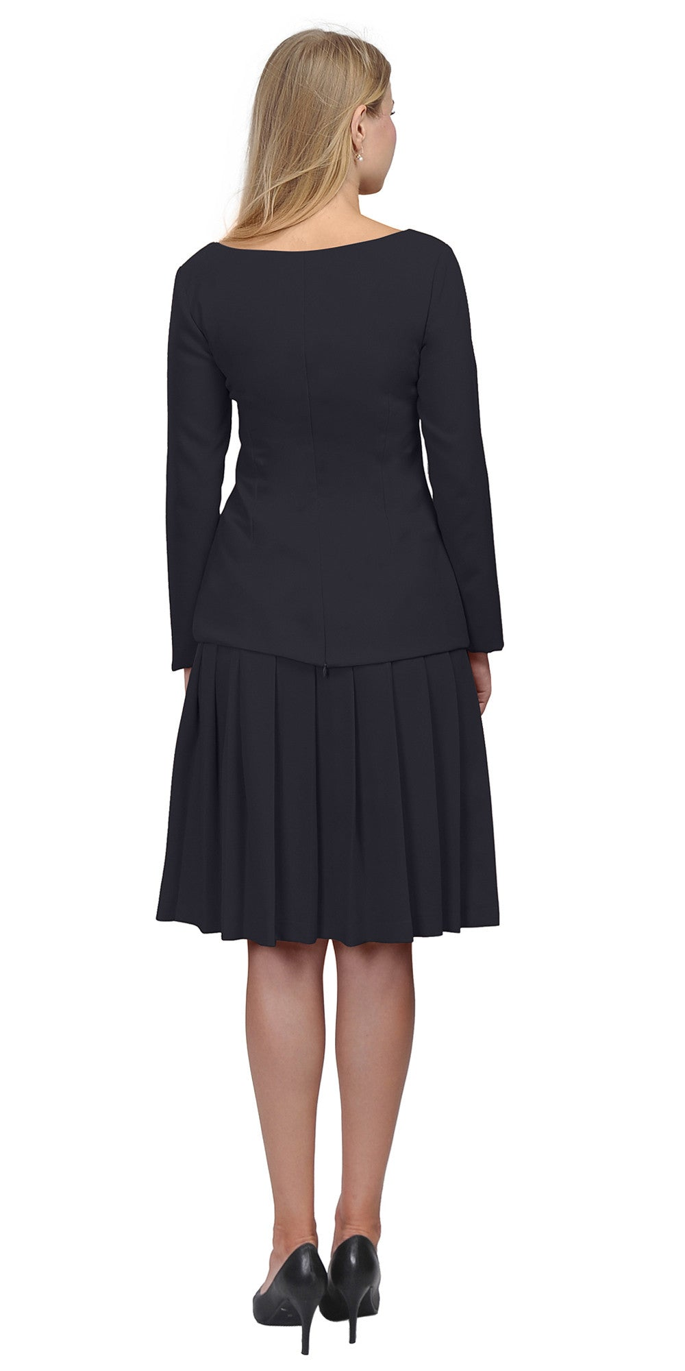 Womens Classy Skirt suit set designer Church Office Business Skirt Suits W Long Sleeves