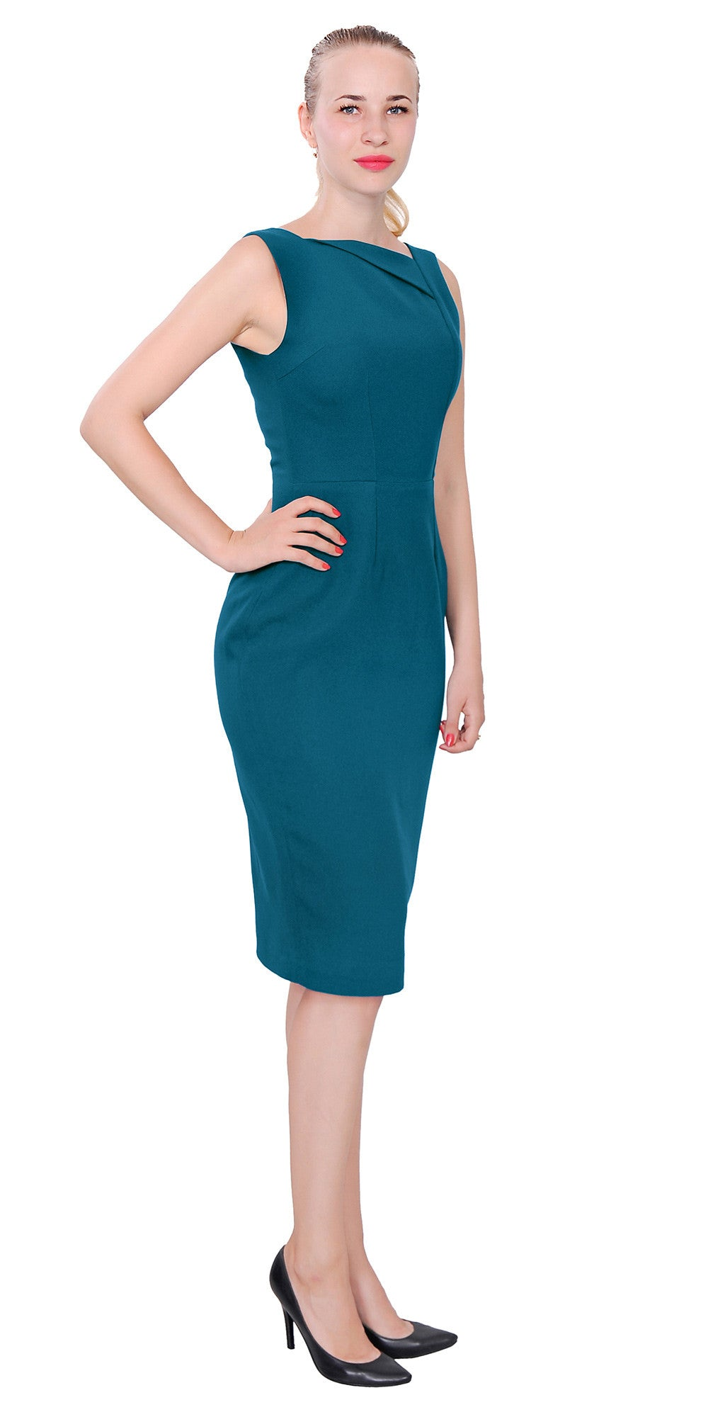 Work Office Business Sleeve A Line Knee Dress – Marycrafts