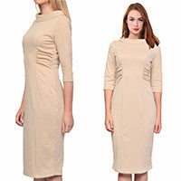 Womens Vintage Sheath Midi Dress for Work Business Office