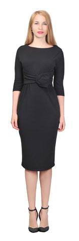 Women's Elegant Vintage Retro Bow Tie Waist Sheath Midi Dress