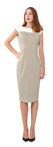 Women's Colorblock Sheath Midi Dress For Office Coctail Work