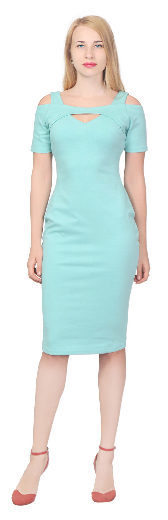 Women's Elegant Cold Shoulder cutout Sheath Midi Dress for Cocktail Evening Party