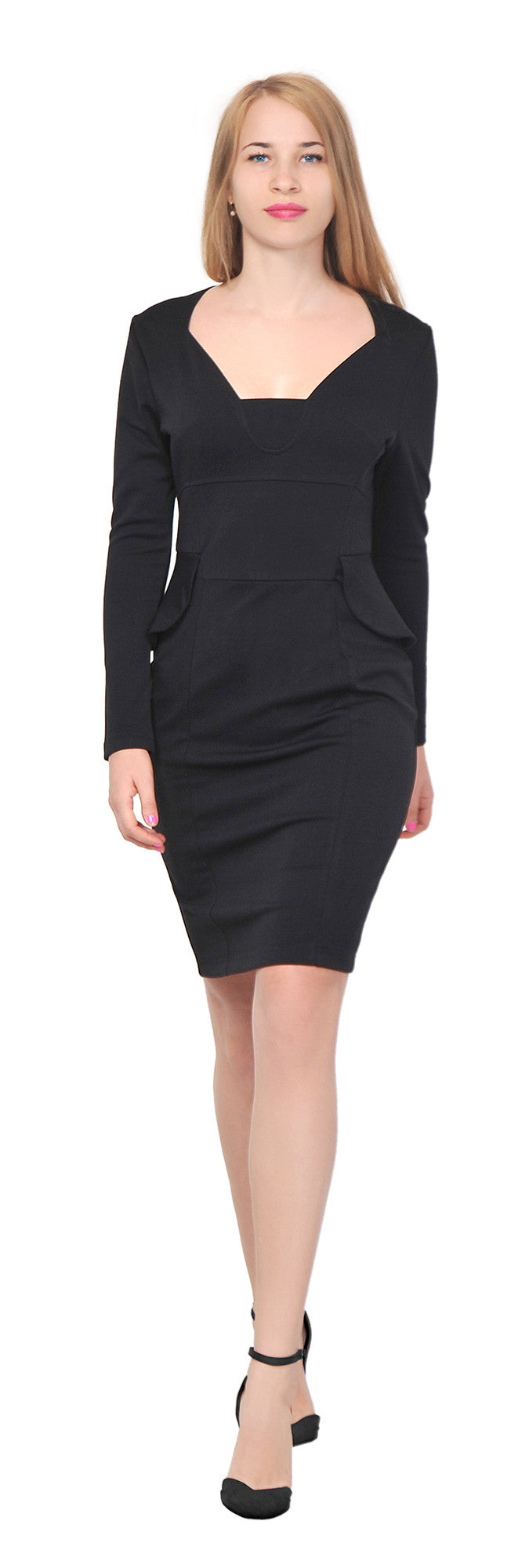 Women's Peplum long sleeve Pencil Knee length Dress