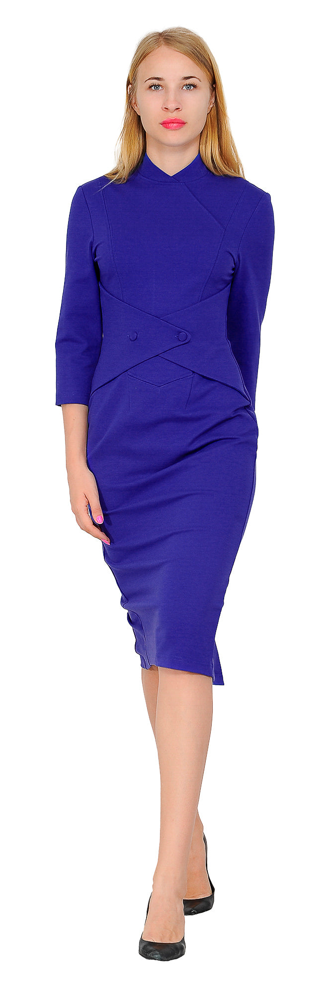 Women's Vintage Retro 1960s long sleeve high neck waistbelt Midi Dress