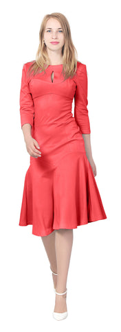 Women's Fitted A line Midi Dress with 3/4 sleeves keyhole neck