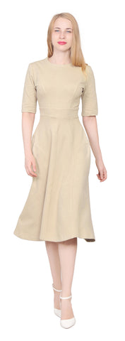 827d45d49044 Womens modest mid sleeve round neck Tea Midi Dress