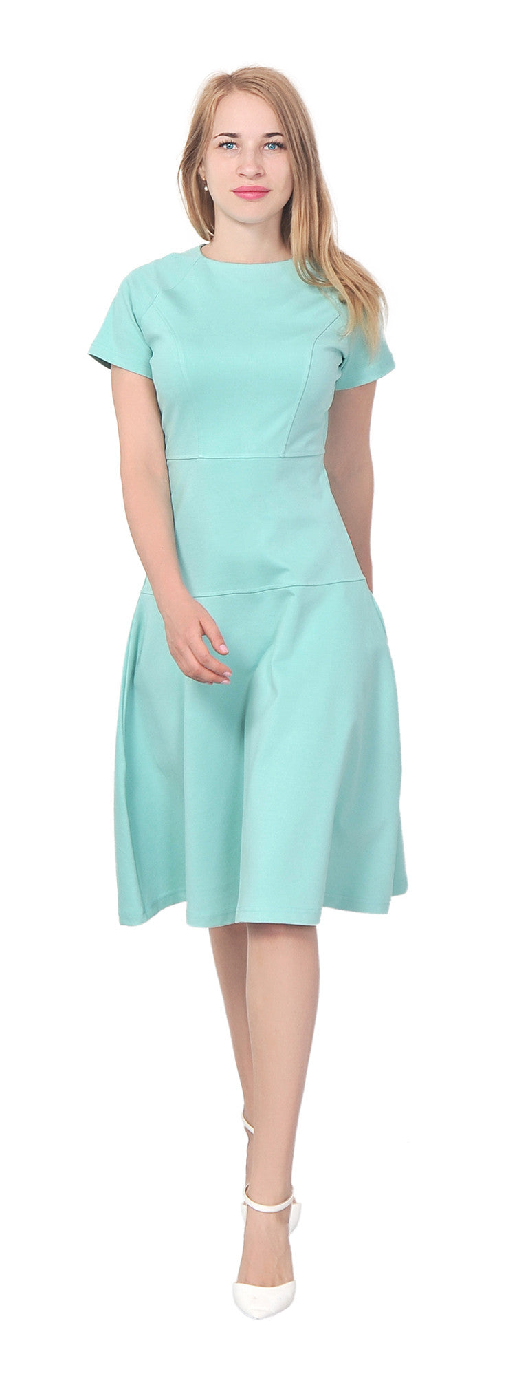 Womens Modest Short Sleeve A line Midi dress