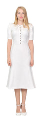 Women's Modest Retro Fitted Puffed sleeve Midi Dress | Marycrafts