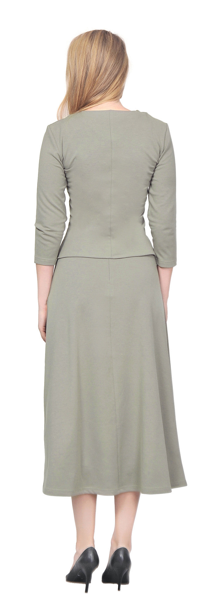Women's Casual Office Relaxed Shirt Skirt Suit Set