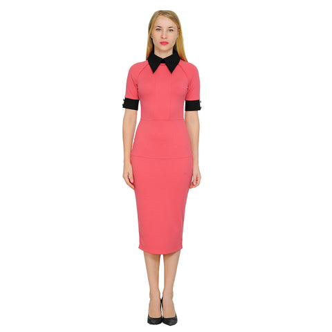 Women's Contrast Color Block Short Sleeve Collar Fitted pencil Midi Dress