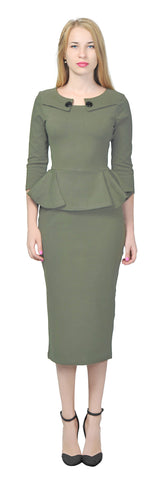 Women's Vintage Retro 1960s Peplum Pencil Midi Dress