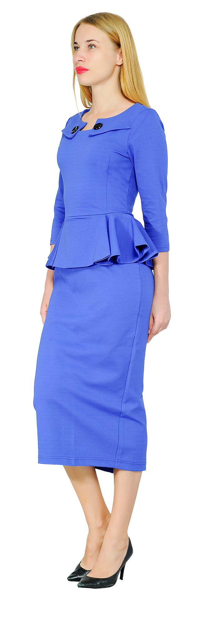 Women's Vintage Retro 1960s Peplum Pencil Midi Dress | marycrafts
