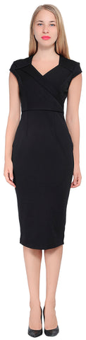 Women's Cap Sleeve Fitted Pencil Midi Dress | Marycrafts
