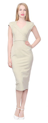Women's Cap Sleeve Fitted Pencil Midi Dress