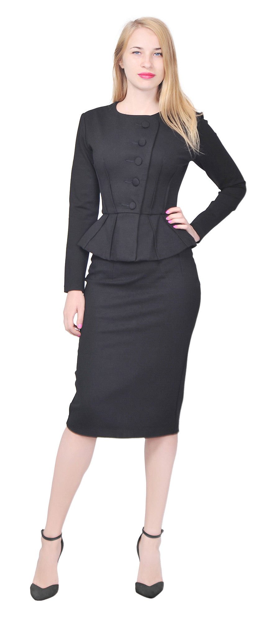womens formal office business shirt jacket skirt suit set