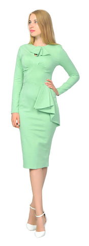 Women's Vintage Retro 1960s Long Sleeve Fitted Pencil Midi Dress