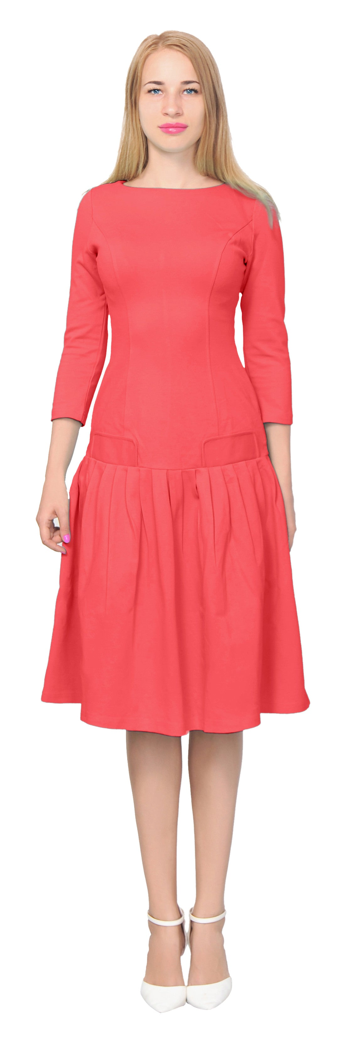Women's long sleeve Drop Waist Midi Dress