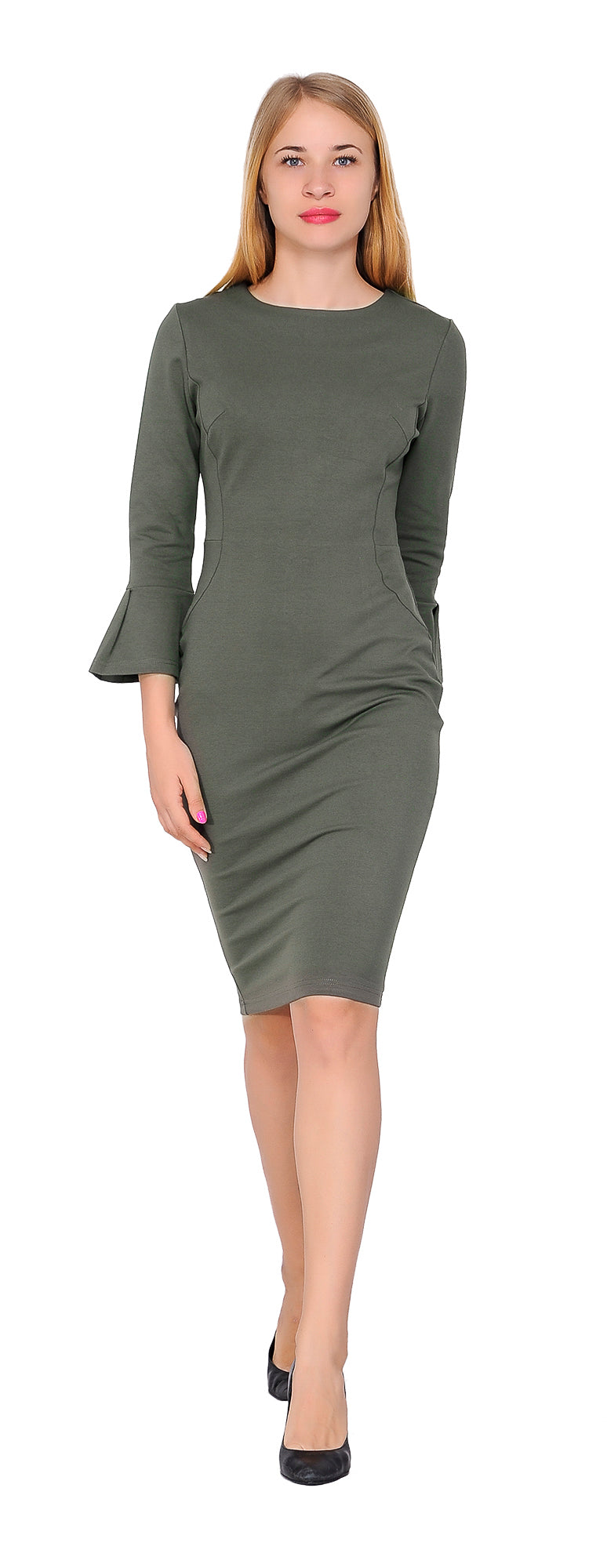 Womens Flounce Flare Sleeve Pencil Dress formal Cocktail Party ...