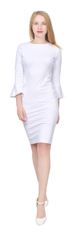 Womens Flounce Flare Sleeve Fitted Pencil Dress