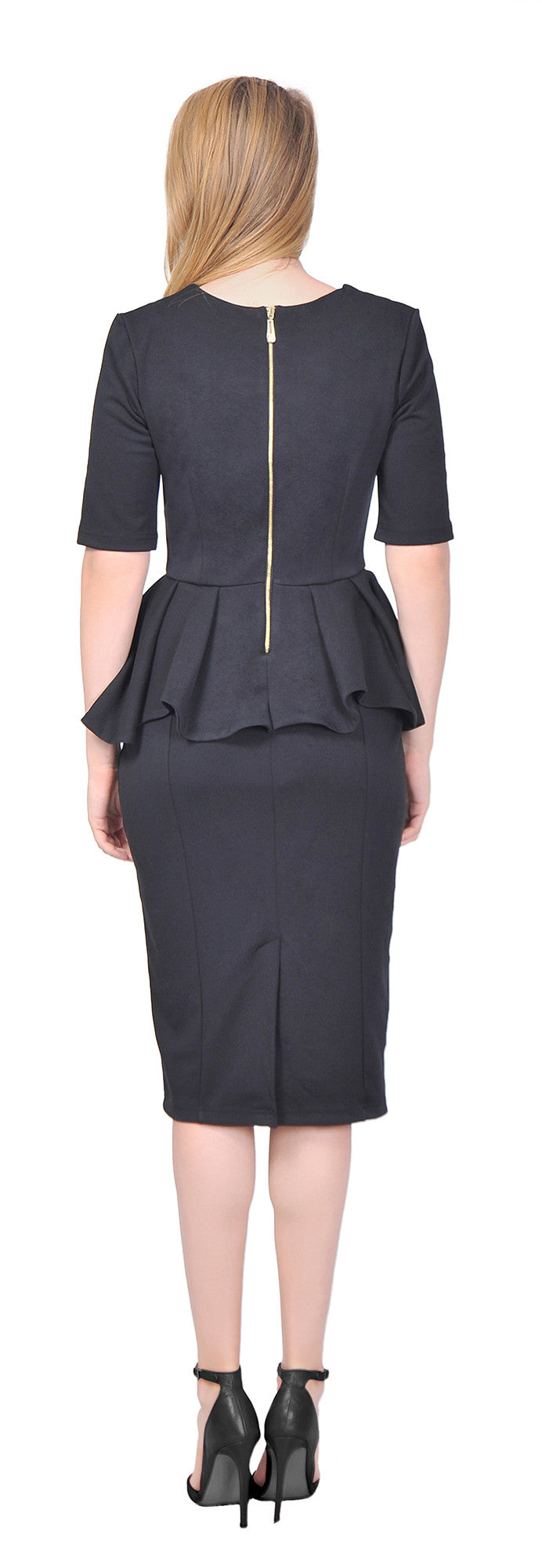 Women's Formal Classy Peplum Pencil Midi Dress For Work Office Church