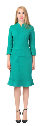 Women's Comfy Casual long sleeve high neck Sheath shirt Midi Dress