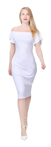 Women's Elegant Off Shoulder Petal sleeve fitted midi Dress
