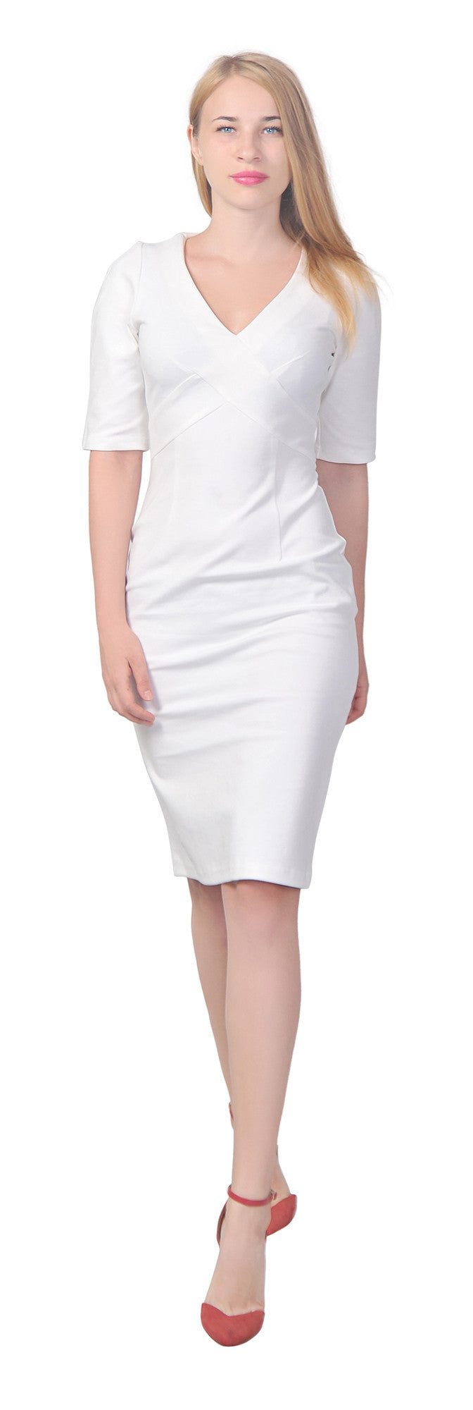 Women's Elegant V Neck Mid sleeve Sheath Pencil Knee length Dress