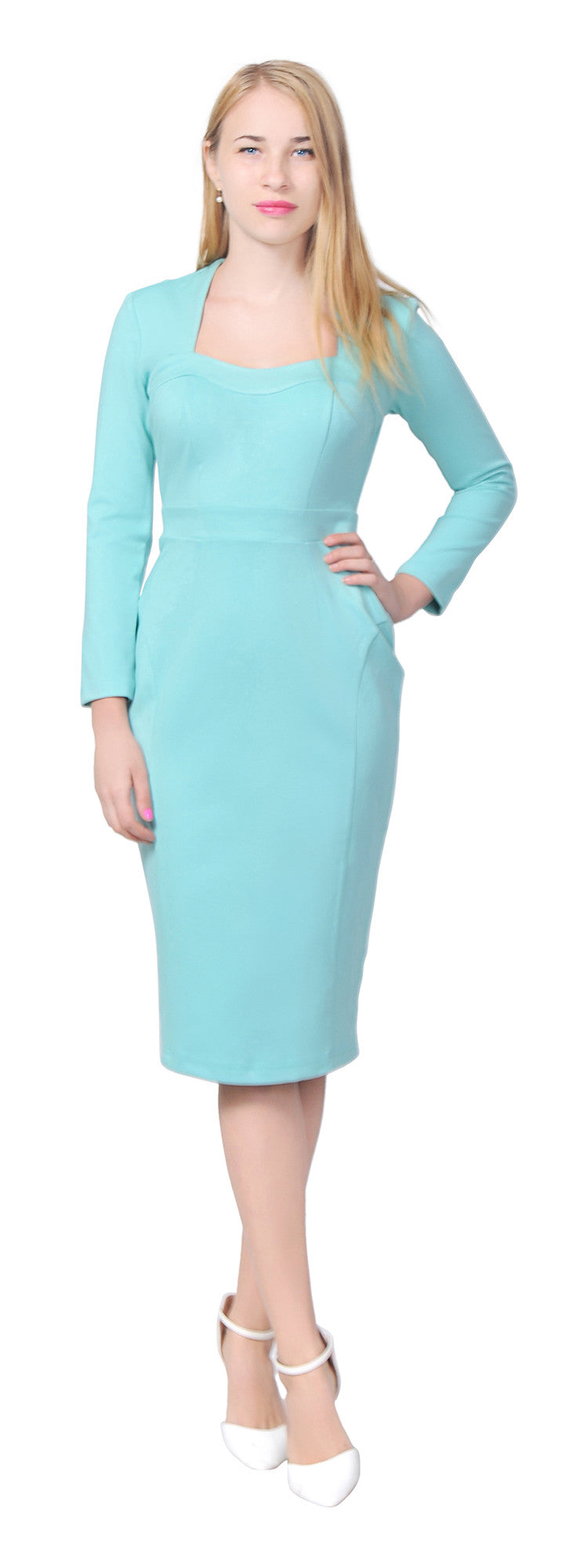 Women's Retro Sweetheart Neck Long sleeve Pencil Midi Dress