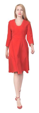 Women's Modest Flared A-line Long sleeve Tea Midi Dress