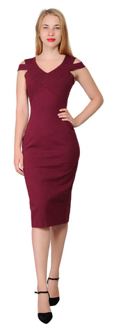 Women's Cocktail Party Cold Shoulder Pencil Midi Dress