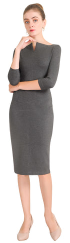 Women's Work Square Neck Midi Sheath Dress