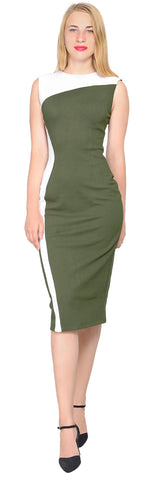 Women's Cocktail Office Colorblock Pencil Midi Dress