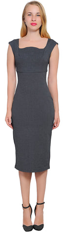 Women's Cocktail Work Cap Sleeve Pencil Midi Dress