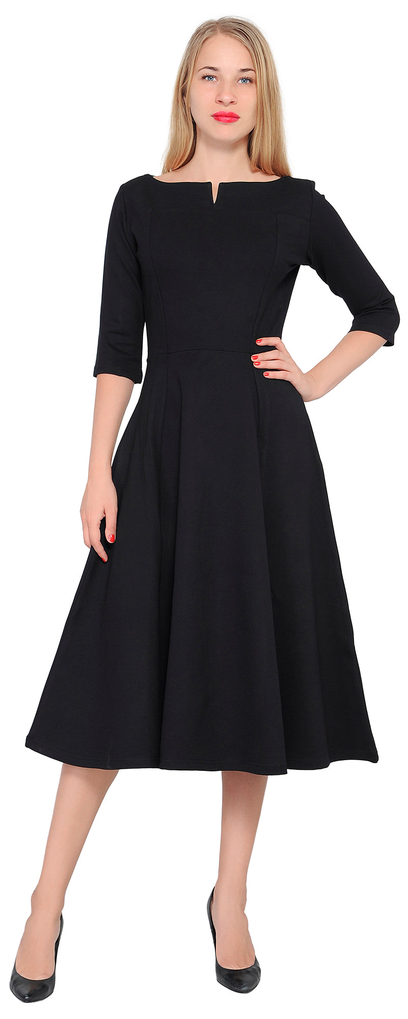 Women S Work Office Business Cocktail Party Dress Fit Flare Tea Midi