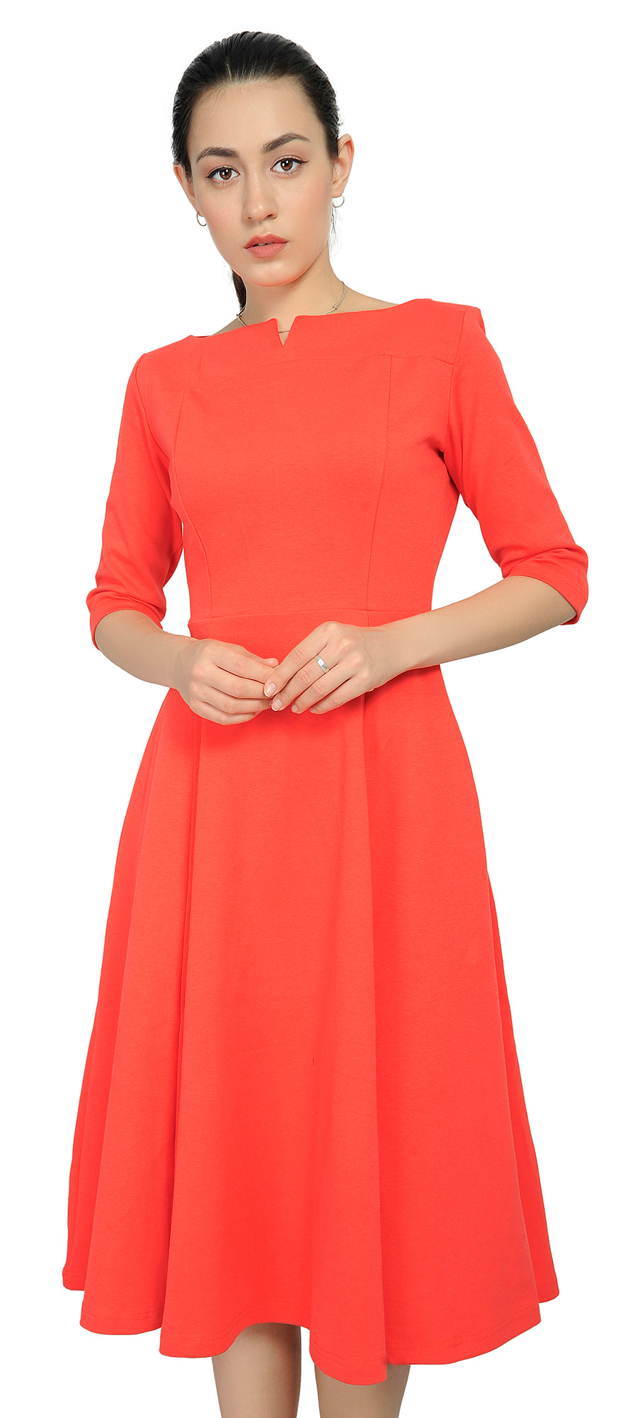 Marycrafts Women's Fit Flare Tea Midi Dress For Office Business Work