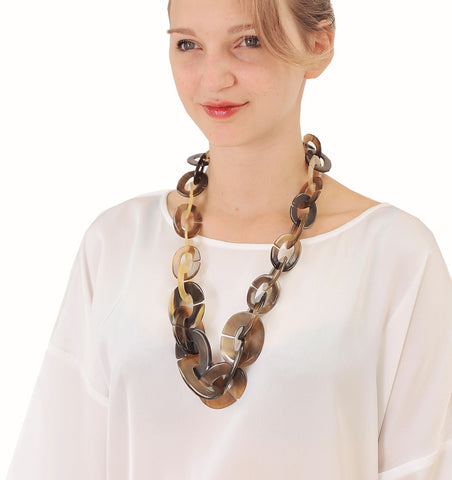 Buffalo Horn Oval Chain Necklace