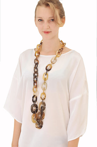Buffalo horn long chain necklace
